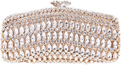 Fawziya Kiss Lock Baguette Purse luxury Crystal Evening Clutch Bags