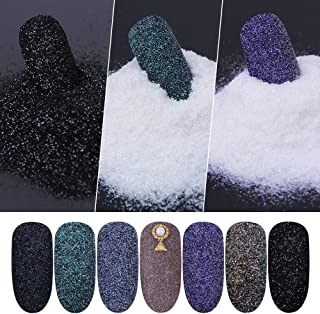 8 Boxes Nail Glitter Powder Shining Sugar Glitter Black White Dust Sand Powder Manicure Nail Art Decoration