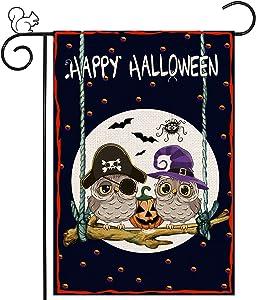 Happy Halloween House Flag, 12 x 18 Vertical Double Sided Burlap Owl Garden Flag Seasonal Fall Decor Halloween Party Decorations for Outdoor Farmhouse Home Yard