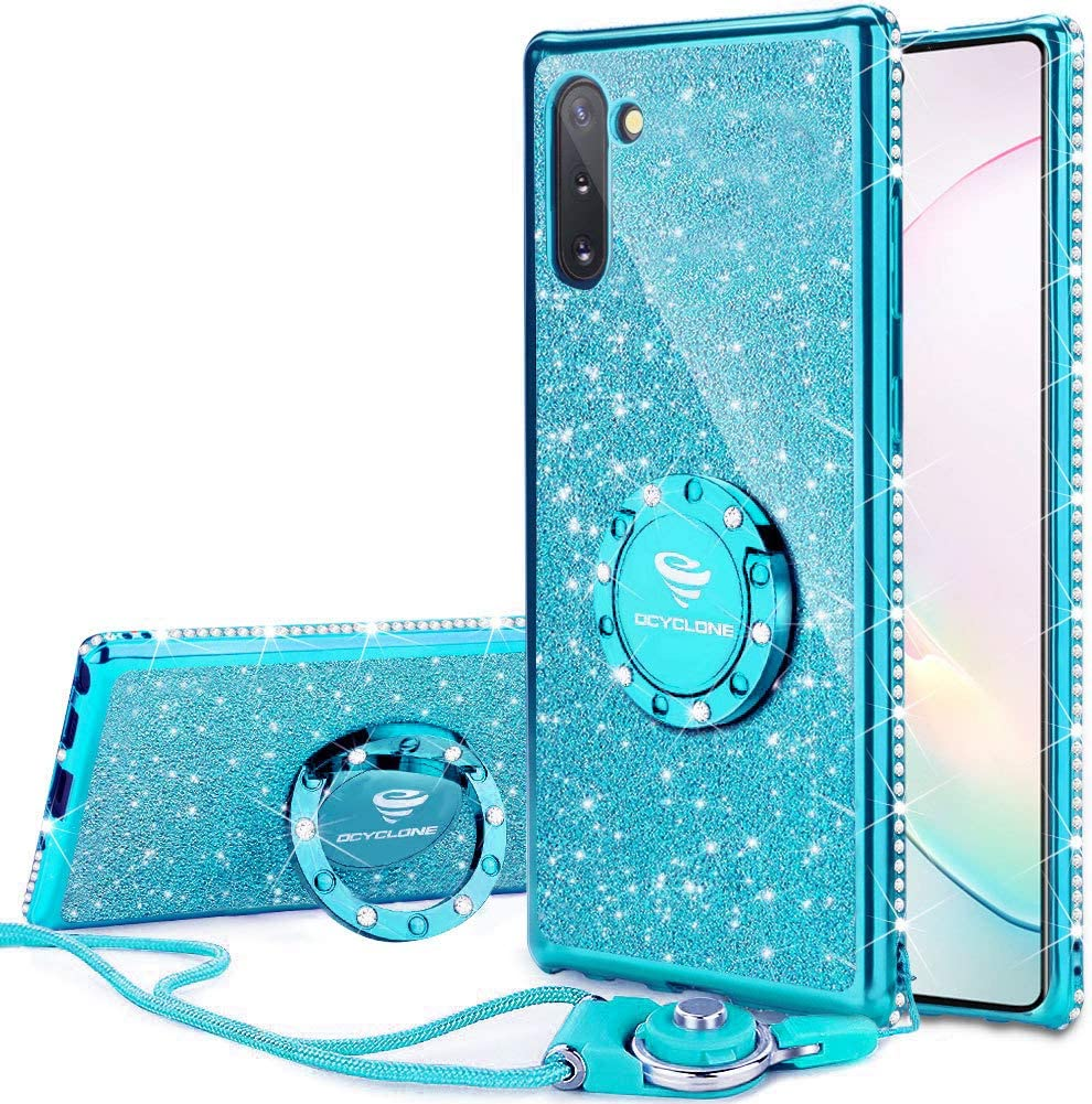OCYCLONE Galaxy Note 10 Case, Glitter Luxury Cute Phone Case for Women Girls with Kickstand, Bling Diamond Rhinestone Bumper with Ring Stand Compatible with Samsung Galaxy Note 10 6.3