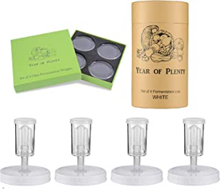 Year of Plenty Fermenting Kit - Set of 4 Fermentation Weights and 4 White Airlock Lids for Making Sauerkraut in Wide Mouth Mason Jars (White)
