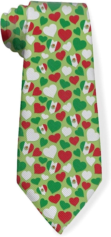 Mexican Flags Heart Pattern Mens Classic Color Slim Tie, Men's Neckties, Fashion Boys Cravats