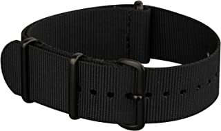 INFANTRY 20mm 22mm Nylon Nato Canvas Fabric Watch Band Strap, 4 Rings Stainless Steel Buckle, Black/Green