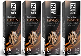 Sugar Free Hard Candy Factor Zero Espresso Coffee (4 Pack) Individually Packaged Gift Boxes Candies FZ-HC-ESSPRE-4
