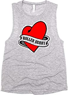 Woman's Roller Derby Graphic Muscle Tank Top Funny Sayings