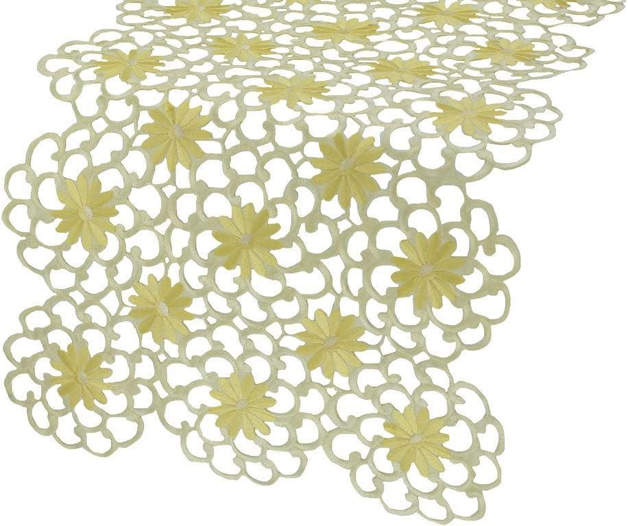 Xia Home Fashions Daisy Splendor Embroidered Cutwork Spring Table Runner, 16 by 34-Inch, Yellow