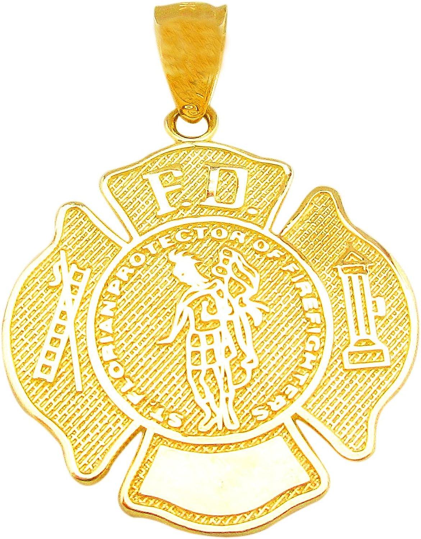 US-Shopsmart 10K Yellow Gold Fireman Firefighter Pendant Fire Dept Charm