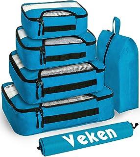 مجموعة من 6 صناديق تعبئة ومنظمات حقائب السفر مع حقيبة غسيل وحقيبة أحذية من فيكن