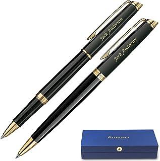 Personalized Waterman Pen   Engraved Waterman Hemisphere Rollerball & Ballpoint Gift Pen Set - Black. Custom Engraved By Dayspring Pens.