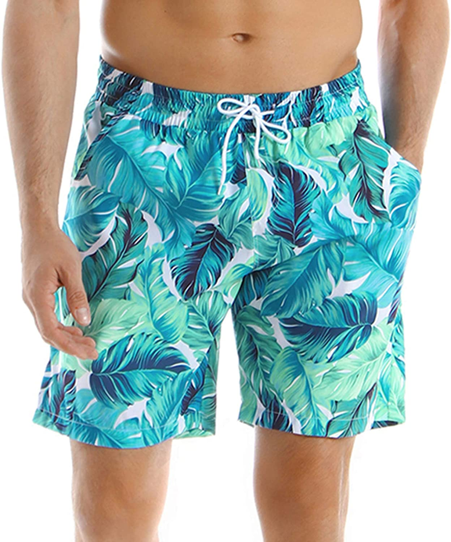 Lu's Chic Men's Swim Trunks Pull On Shorts Hawaiian Swimwear Beach Knee Length Elastic Waist
