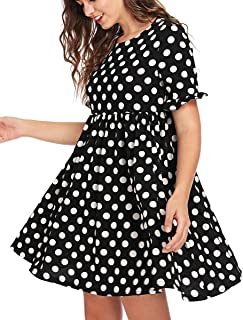 ROMWE Women's Comfy Short Sleeve Smock Loose Tunic Flare Swing Party Dress