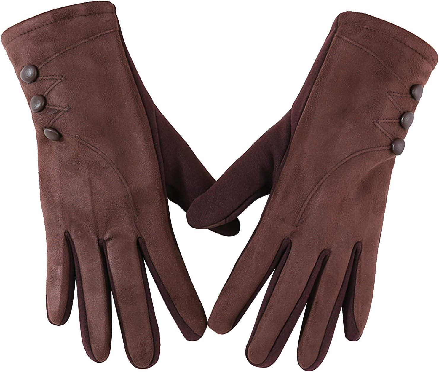 Womens Fleece Suede Touch Screen Warm Gloves Fashion Button Decorated Cycling Gloves Winter Outdoor Sport Mittens