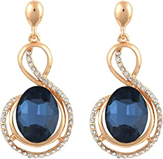 Crunchy Fashion Bollywood Style Party Wear Blue Crystal Dangle Earrings for Women & Girls