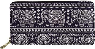 HUGS IDEA Women's Long Zipper Wallet Ethnic Elephant Design Card Holder Clutch Purse