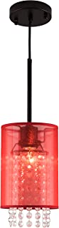 MO&OK Modern Chandeliers Red Gauze Crystal Pendant Lights 1-Light with Adjustable Cord