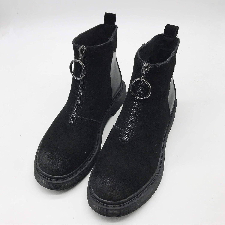 Shukun Stiefeletten Stiefel Martin Stiefel Frauen Wilden flachen Boden erhöht PU Retro  | Discount  | Stilvoll und lustig