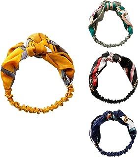 Headbands for Women Vintage Printed Hair Band Elastic Head Wrap Twisted Cute Hair Accessories