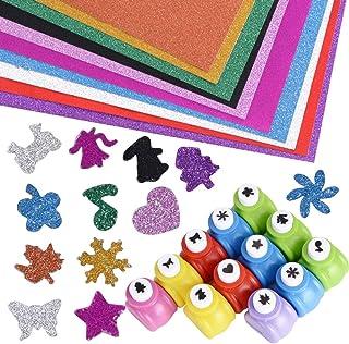 JNCH 12pcs Mini Perforatrice Papier + 10pcs Papier Paillette Autocollant A4 Feuilles Colorés Poinçon Punch à Motifs Différ...