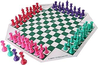 sharprepublic Juego de Chessman y Ajedrez Tradicional 4 Jugador Picnic Viaje En Casa Artesanía Artes Decorativas
