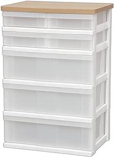 【Amazon.co.jp限定】 アイリスオーヤマ チェスト 木天板 小引き 5段 幅55.8×奥行40.2×高さ82cm 白 プラスチック CN-527