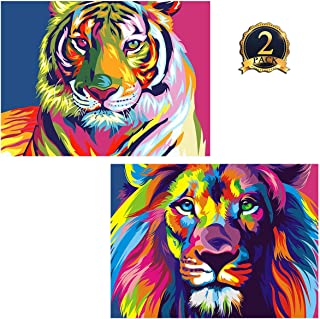 5D Diamond Painting Tiger & Lion Full Drill by Number Kits for Adults Kids, Ginfonr DIY Craft Rhinestone Paint with Diamonds Set Animal Arts Decorations (12x16inch, 2 Pack)