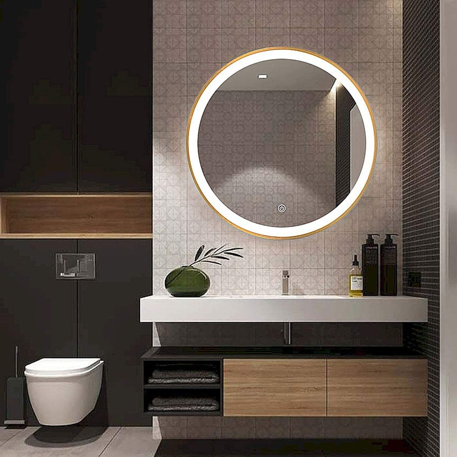 "Beauty4U 19.7""Round Mirror for Bathroom, LED Gold Circle Wall Mirror, Light Up Backlit Touch Make-up Vanity Mirror Wall Décor"