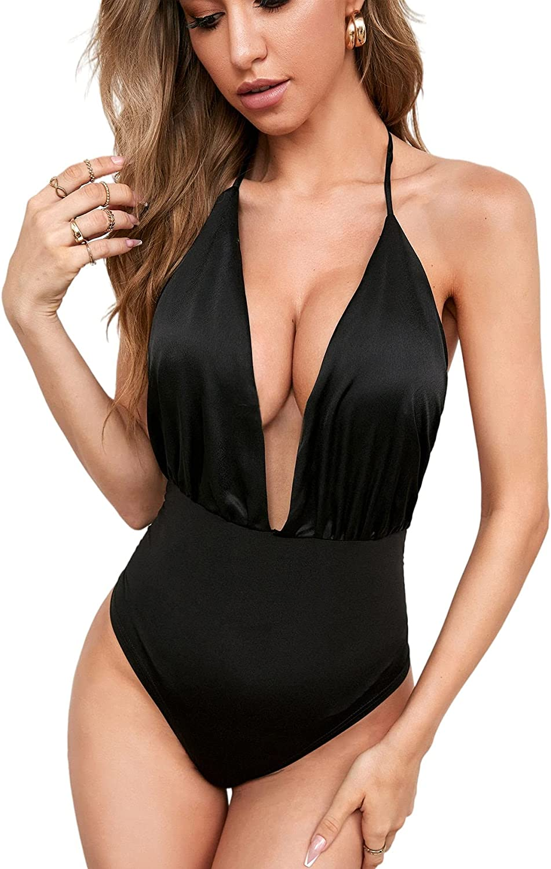 SheIn Women's Sexy Satin Plunging Neck Halter Bodysuit Sleeveless Open Back Solid Bodysuit