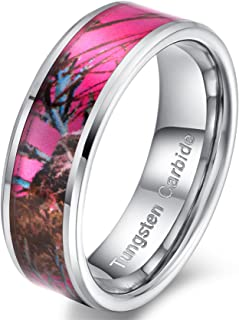 Womens 8mm Tungsten Carbide Ring Pink Camouflage Hunting Camo Oak Wedding Engagement Band Comfort Fit