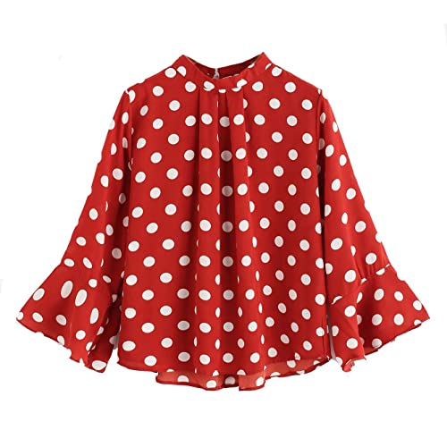 48388a37f1f6e Verdusa Women s Bell Sleeve Polka Dot Pleated Front Blouse