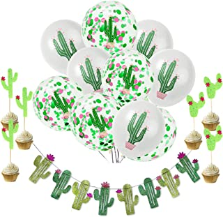 Budicool Cactus Party Decorations Cactus Banners and Cactus Latex Confetti Balloons for Baby Shower Decorations for Girl Boy,Birthday Decorations,Luau Fiesta Party Supplies,Luau Hawaiian Summer Party