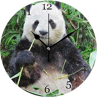 Rolig djur panda bambu väggklocka tyst icke-tickande 25 cm rund klocka akryl konstmålning hem kontor skoldekor