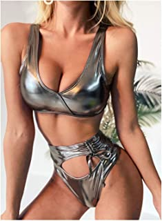 LUZIWEN Pure metallic bikini swimsuit female swimsuit strap high waist hollow (Color : Silver, Size : M)