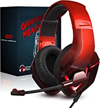 Best INHANDA K19 Stereo Sound PS4 Gaming Headset with Microphone, Over Ear Xbox One Gaming Headphone with Mic, Noise Cancelling, Memory Foam Earmuffs, LED Light, for Xbox ONE/PC/Nintendo Switch/Mac/Laptop Review