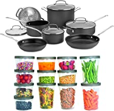 Cuisinart 66-11 Chef's Classic Nonstick Hard-Anodized 11-Piece Cookware Set with 25-Piece Set Plastic Storage Containers B...