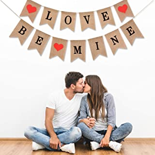 Boao Love Banner and Be Mine Burlap Banner Photo Props for Valentines Day Wedding Engagement Decoration, 2 Sets Totally