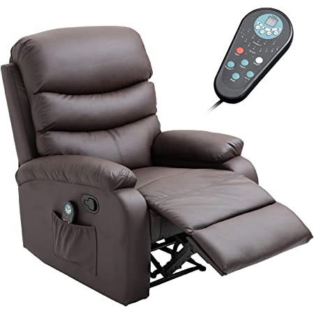 Amazon Com Homcom Manual Massage Recliner Chair With Heat And Remote Control 8 Massaging Points Pu Leather Brown Furniture Decor