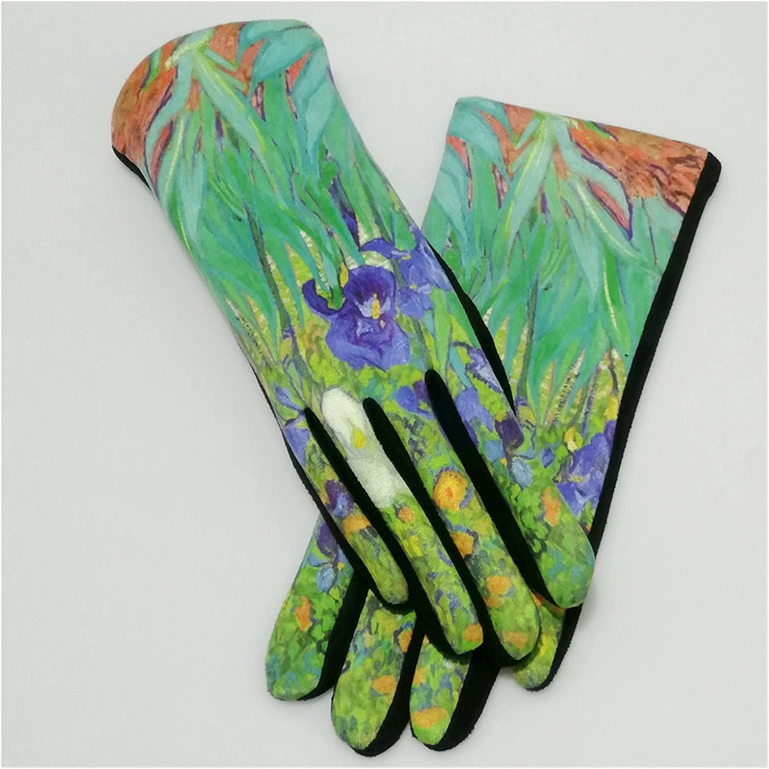 CHHNGPON Ladies Gloves Oil Painting Gloves Women Digital Print Party Mittens Luxury Brand Embroidery Touch Screen Glove Femme Cycling (Color : VGIrises, Gloves Size : One Size)