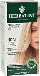 Herbatint Permanent Herbal Hair Color Gel, Platinum Blonde 10 N, 4.56 Ounce