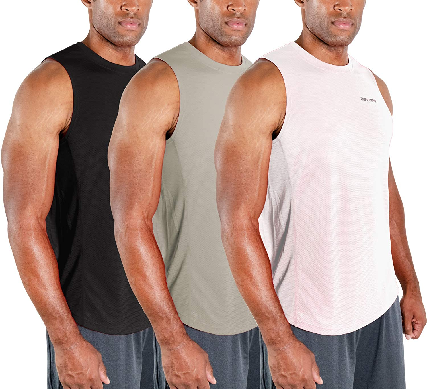 DEVOPS unisex 3 Pack Direct sale of manufacturer Men's Muscle Shirts Dri Gym Fit Sleeveless Workout