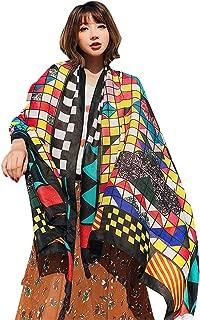 Xiuy Retro Modello Fazzoletto da Collo Leggero Stampa Foulard Elegante Belle Scarf Morbido Caldo Scialle Casual Donna Stole Selvaggio Grande Sciarpa