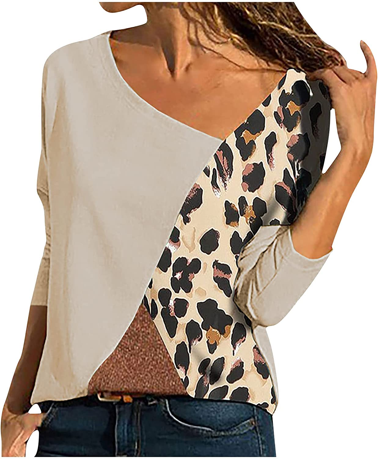 Women's Fashion Oblique V-Neck Blouse Splicing Color Collision Long Sleeves Plus Size Easy Tops Loose Pullover Blouse