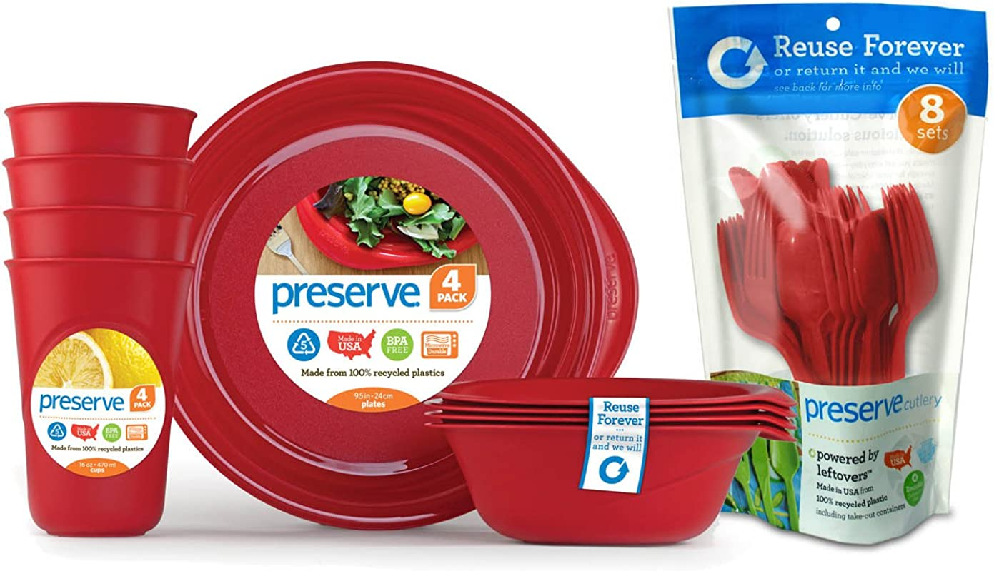 Preserve Everyday Tableware Set With Cutlery Pepper Red