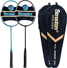 Senston N80-2 Pack Graphite High-Grade Badminton Racquet, Professional Carbon Fiber Badminton Racket Included Black Blue Color Rackets 2 Carrying Bag