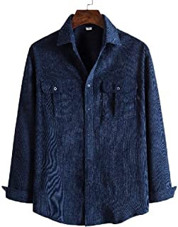 Loyomobak Men's Solid Color Corduroy Retro Long Sleeve Loose Fit Button Down Shirts