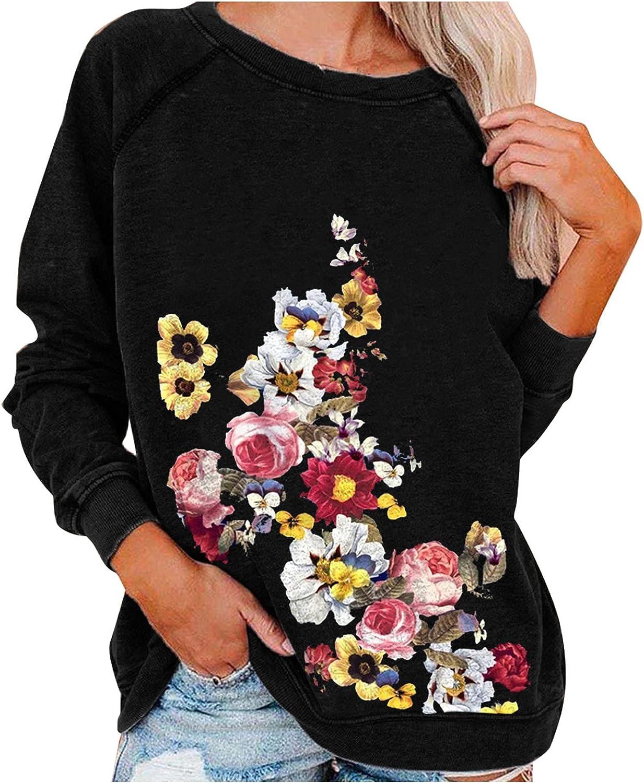 Pandaie Floral Long Sleeve Shirts Elegant Ultra-Cheap Deals for Casual Sweatsh Women Print