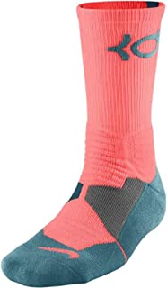 Men's KD Hyper Elite Cushioned Basketball Socks Large (8-12) Bright Mango / Rift Blue-Space Blue