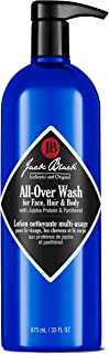 JACK BLACK – All-Over Wash – Wash for Face, Hair and Body, Multipurpose Wash, Sulfate-Free, Eliminates Dirt and Sweat, Contains Proteins & Vitamins, Botanicals, 10 oz
