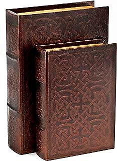 Bellaa 28175 Irish Celtic Knot Book Box Hidden Secret Storage Set of 2