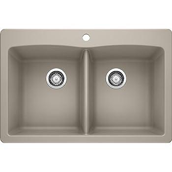 "BLANCO, Truffle 441285 DIAMOND SILGRANIT 50/50 Double Bowl Drop-In or Undermount Kitchen Sink, 33"" X 22"""