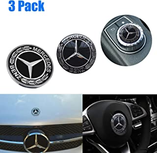 Mercedes Benz Logo Metal Flat Vehicle Hood Star Emblem Badge+ Steering Wheel Decal Sticker+Multimedia Control Decal Sticker for Mercedes Benz C E SL Class Decoration(Black)